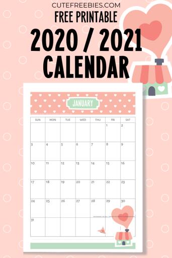 Free Printable 2021 Calendar Super Cute Cute Freebies For You