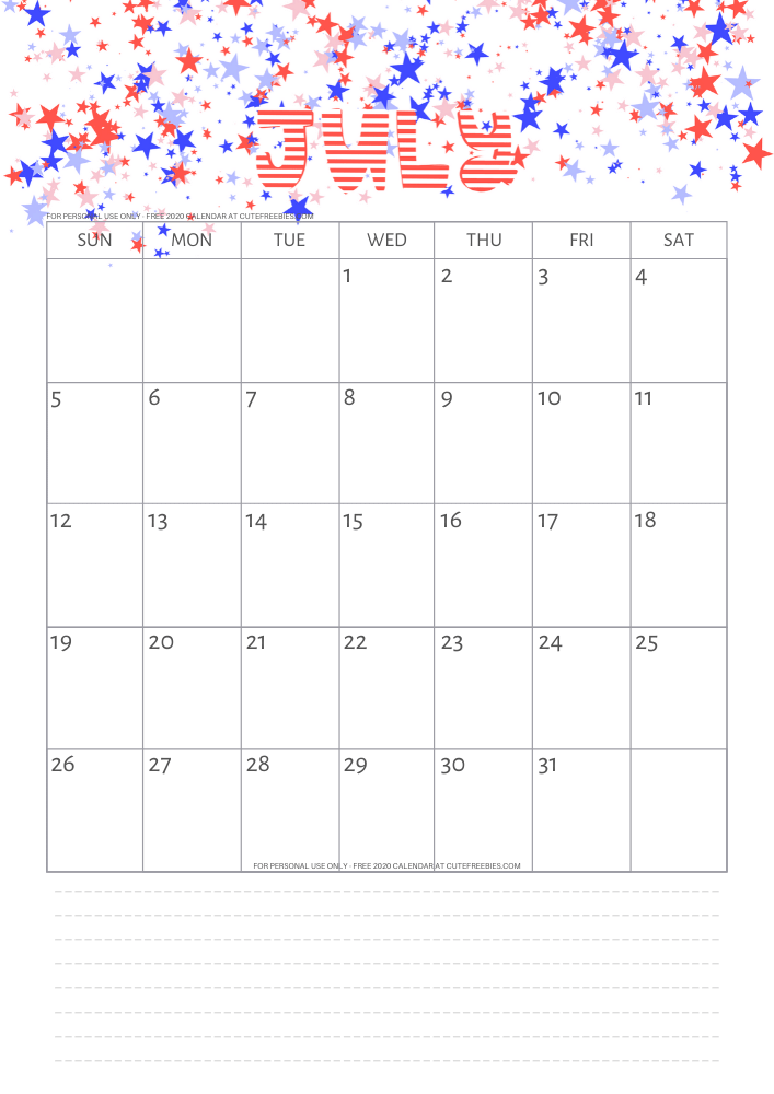 July 2020 Calendar Printable PDF - Cute Freebies For You