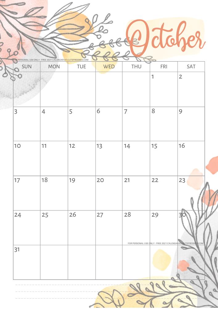 OCtober-2021-calendar-pretty-printable-template - Cute ...