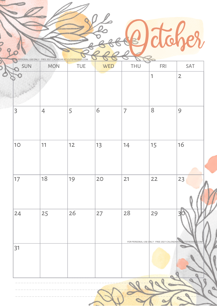 Pretty 2021 Calendar Free Printable Template - Cute ...