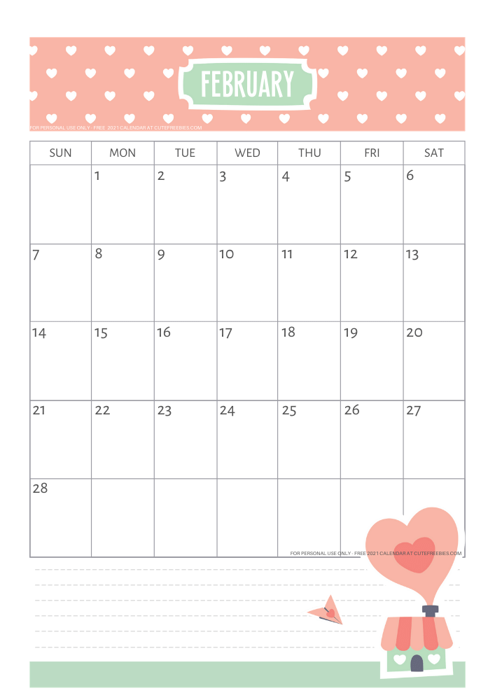 Free Printable February 2021 Calendar Pdf Cute Freebies For You Check out our cute calendar 2021 selection for the very best in unique or custom, handmade pieces from our kalendari i ezhednevniki shops. free printable february 2021 calendar