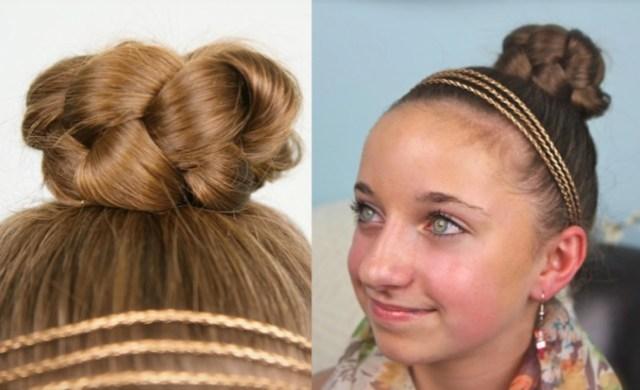 simple braided bun | cute girls hairstyles | cute girls
