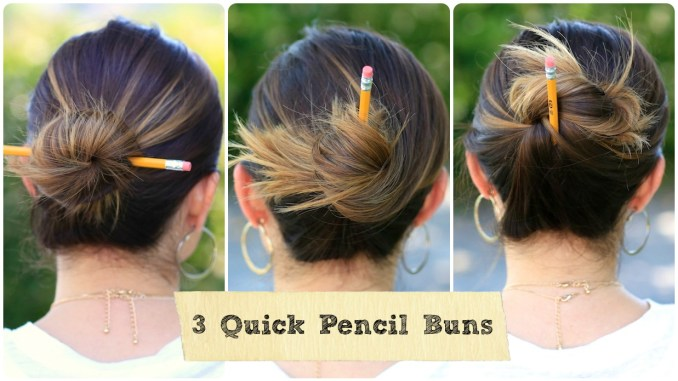 3 easy pencil bun ideas | back-to-school hairstyles | cute