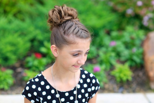 double-french messy bun updo | cute girls hairstyles