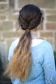 braid flip combo hairstyle cute