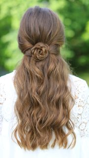 rosette tieback cute girls hairstyles