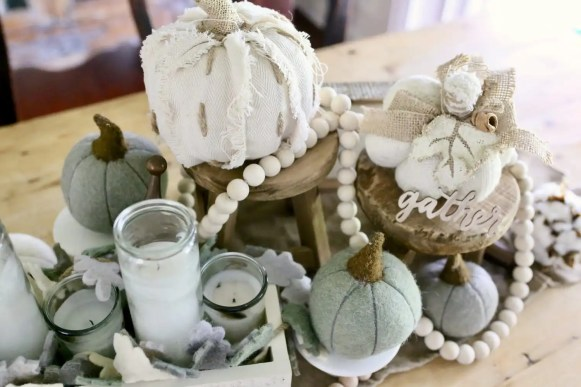 Fall Centerpiece with Neutral Decor