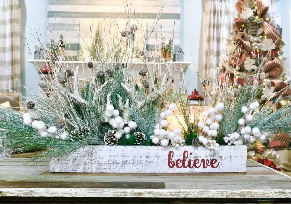 DIY Floral Centerpiece in Wooden Crate