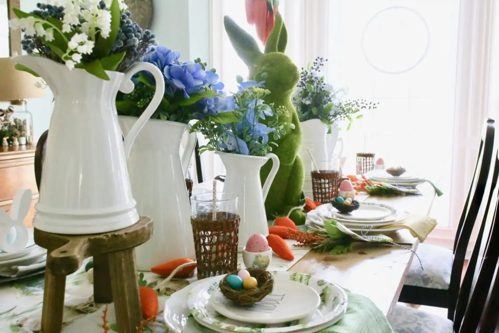 set up a colorful easter tablescape