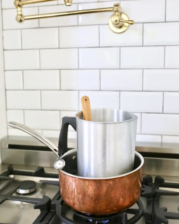 Use a double boiler or pouring pot to boil soy wax.