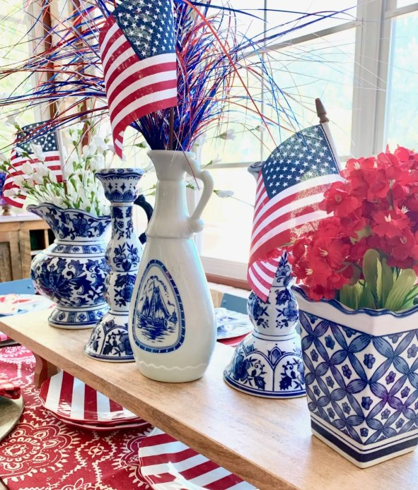 centerpiece for Labor Day tablescape