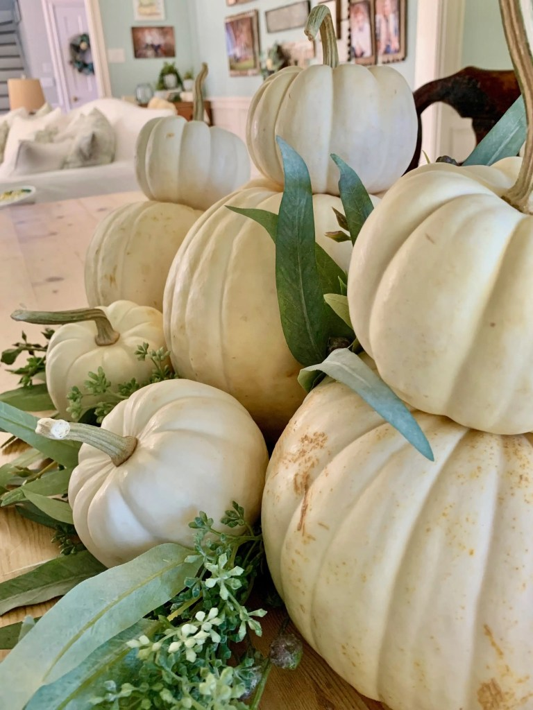 stacks of white pumpkins on table