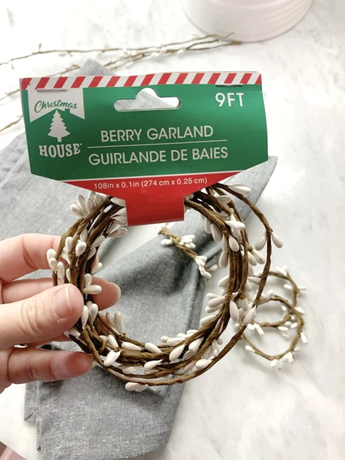 The berry garland pictured is wrapped wire which works great to make napkin rings.