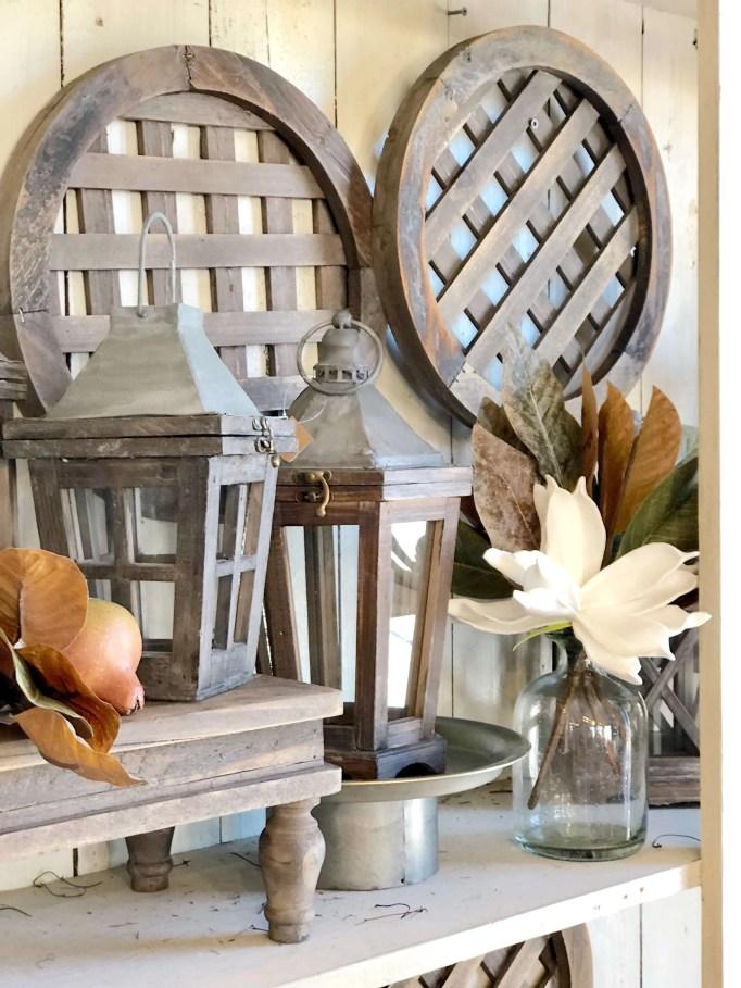 lantern set styled on bookshelves