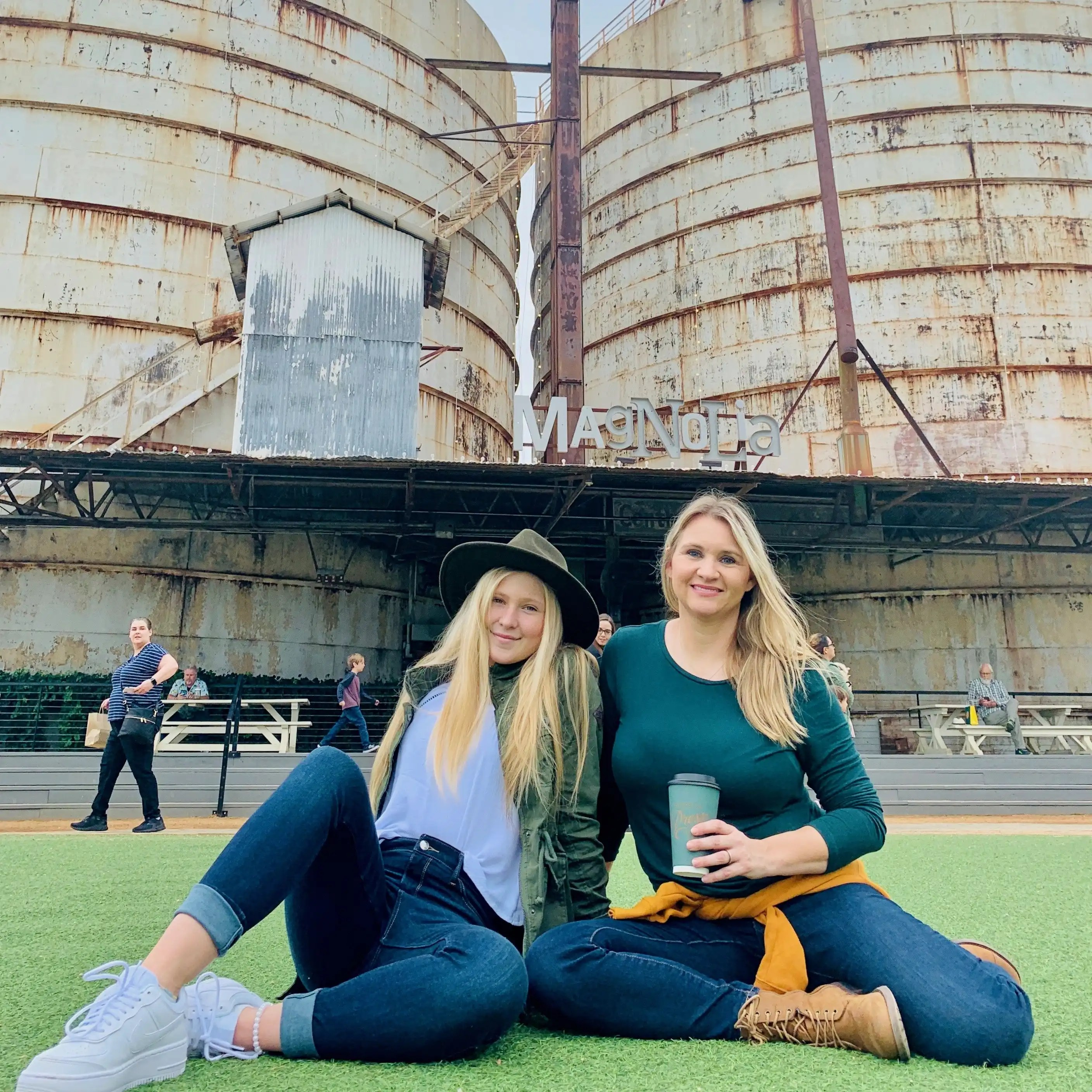 My daughter and I on the lawn at the Silos in Waco, Texas.