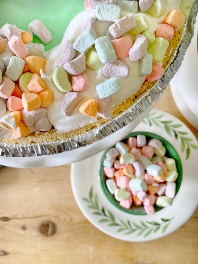 st Patricks day dessert served with cereal marshmallows on top