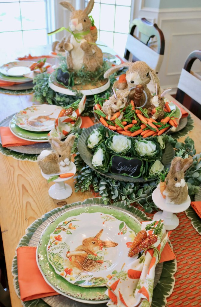 Table decorated for Easter