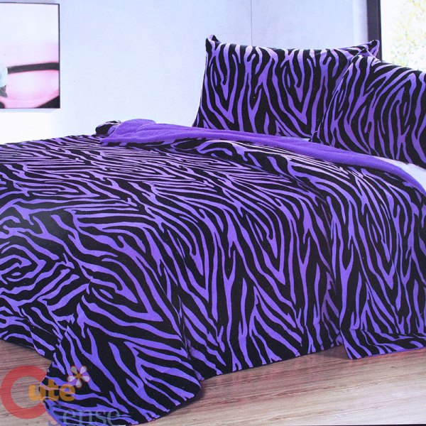 Purple Zebra Bedspread Blanket 2 Pillow Cover Queen 3pc