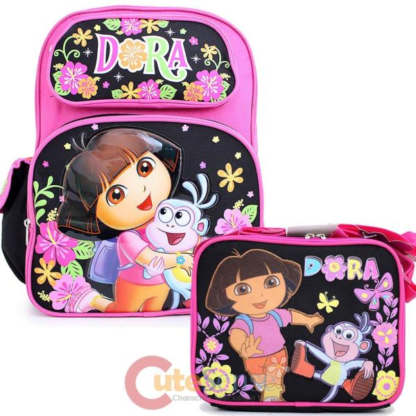 "Dora Explorer Large 16"" School Backpack With Lunch Bag"