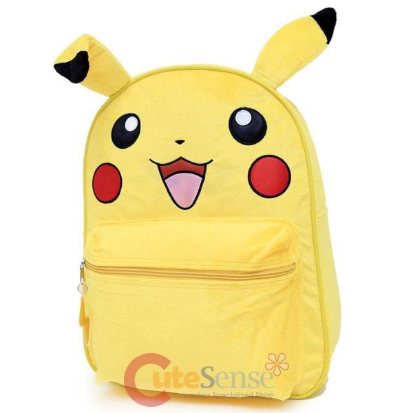 "Pokemon Pikachu Plush School Backpack 16"" Large Bag With"