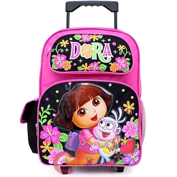 "Dora Explorer Large Roller Backpack 16"" School Rolling"