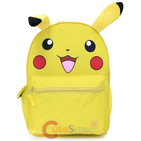 "Pokemon Pikachu Large School Backpack 16"" Canvas Book Bag"