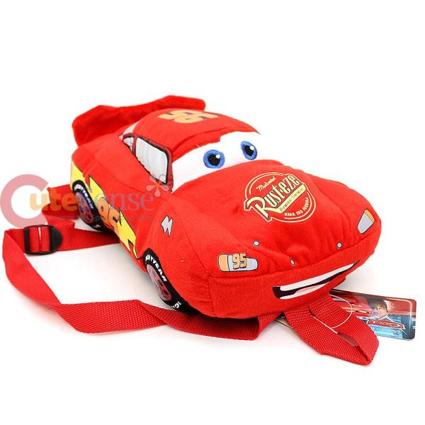 "Disney Cars Mcqueen Car Plush Doll Backpack 14"" Toy"