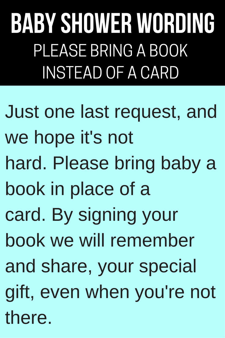 Bring A Book Instead Of Card Baby Wording Ideas Banner