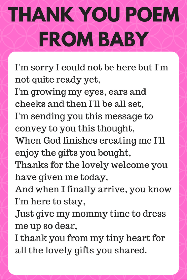 thank you poem from baby wording sign