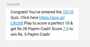 paytm quiz proof