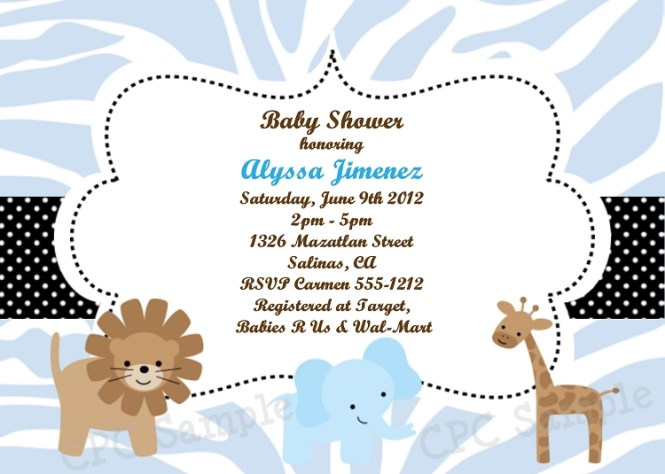 Blue Safari Baby Shower Invitations