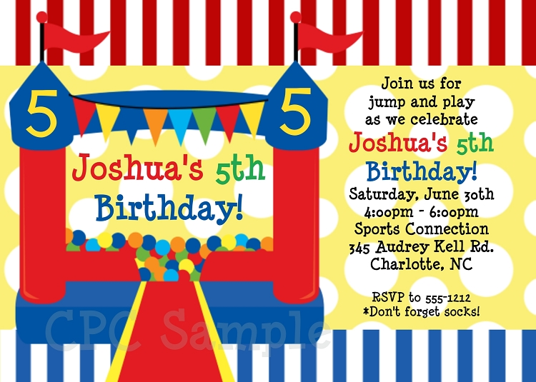 Red And Blue Bounce House Circus Birthday Party Invitations