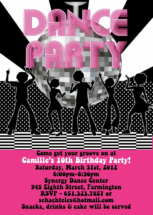 Disco Dance Birthday Party Invitations Printable Or Printed