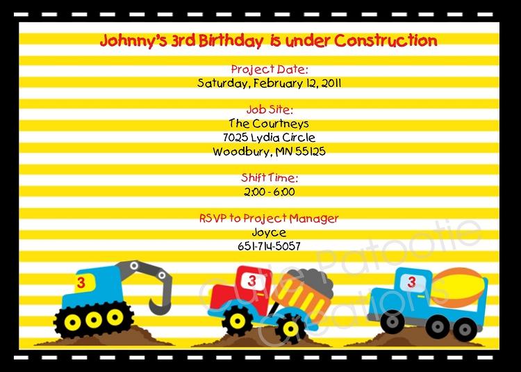 under construction vehicles birthday