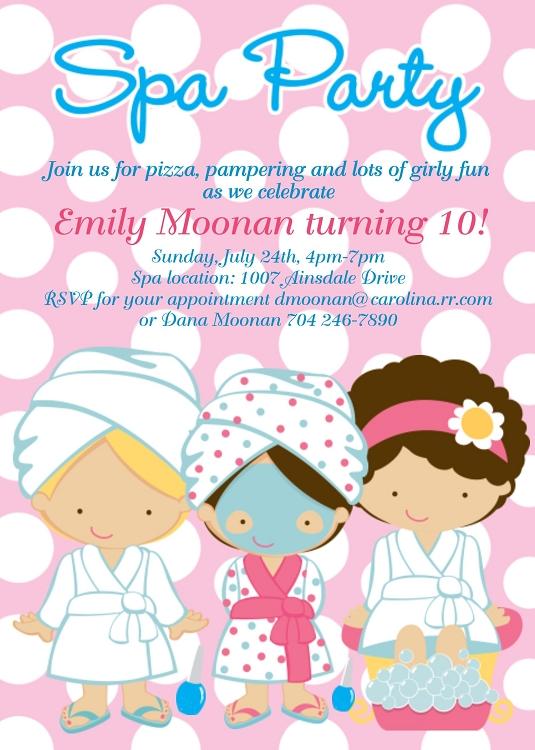 spa party birthday invitations