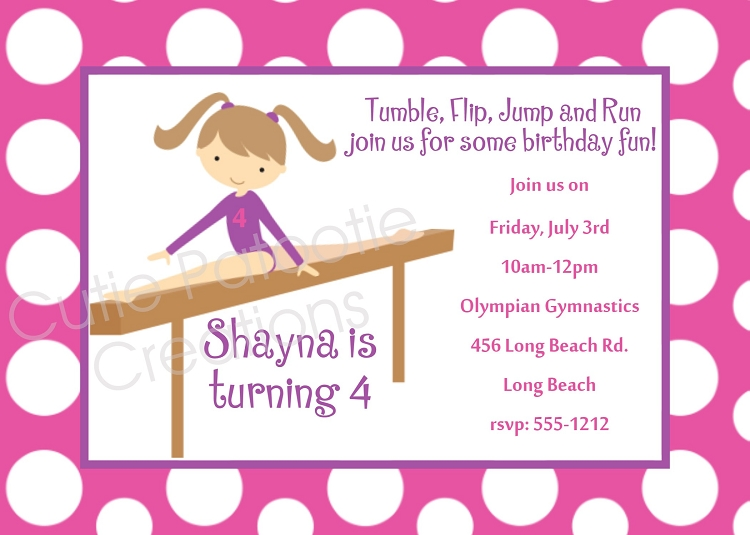 girls gymnastics birthday party