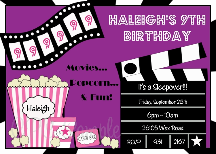 movie birthday party invitations printable