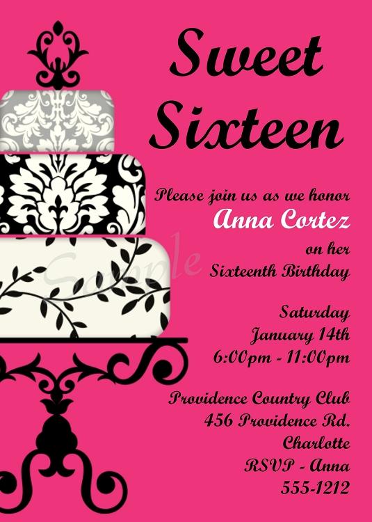 hot pink black sweet 16 birthday