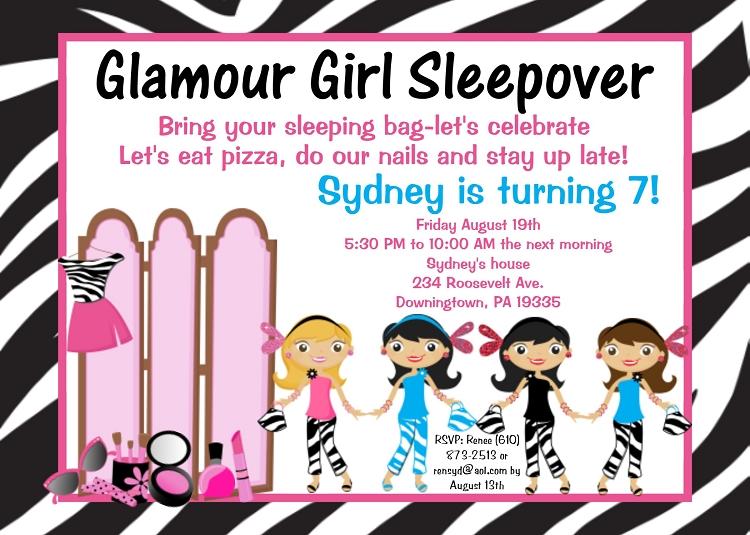 glamour girl birthday party invitations