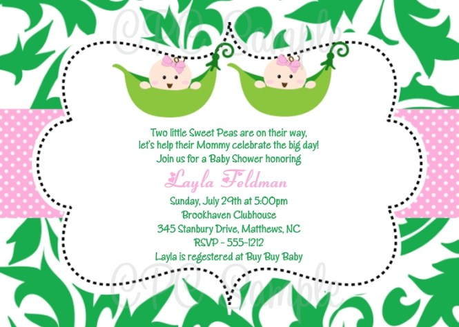 Twins Shower Invitations Baby Invitation In Pink Monkey