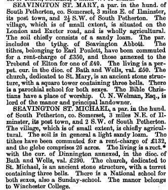 Seavingtons 1868 gazetteer