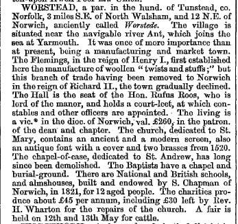 Worstead 1868 gazetteer