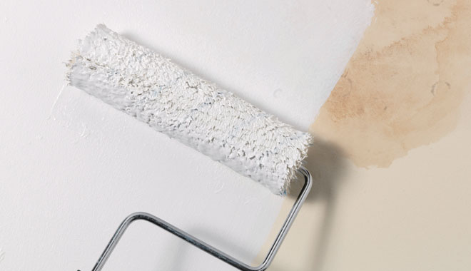 how to paint over water stain on ceiling