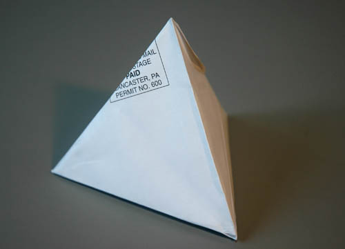 tetrahedron folded from envelope