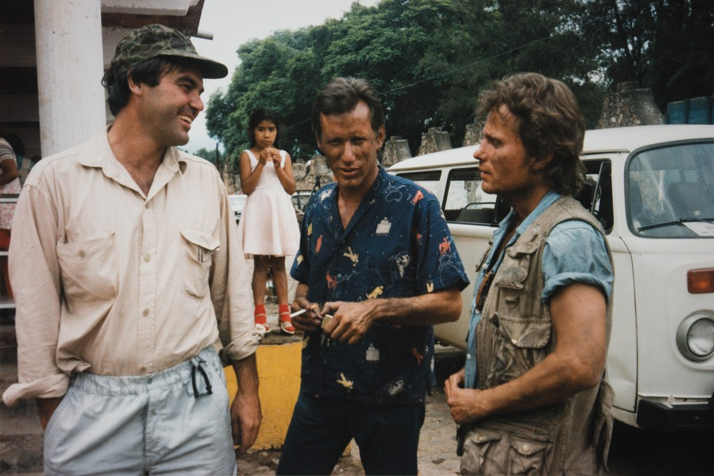 Oliver Stone, James Woods, and John Savage on the set of 'Salvador'