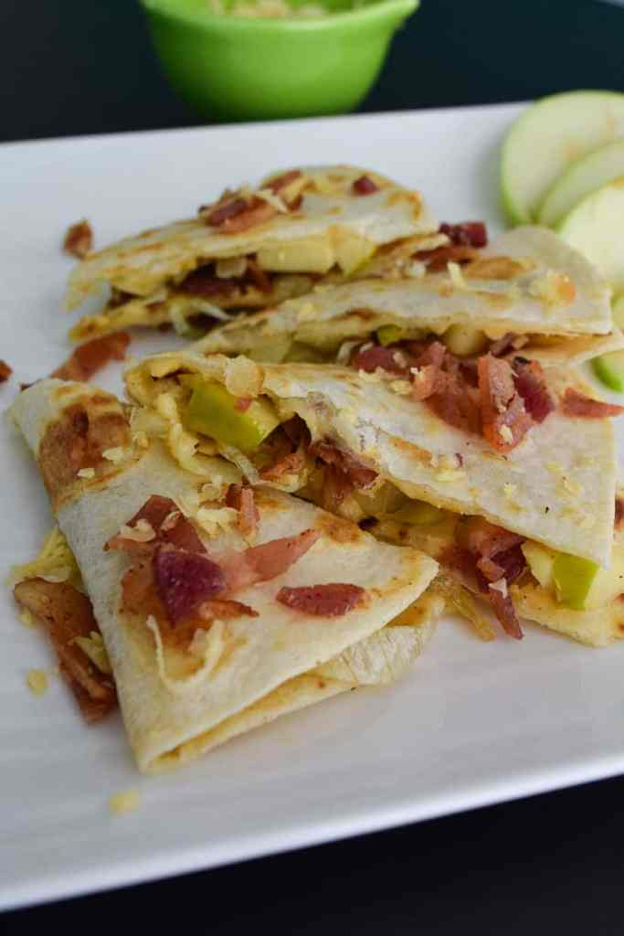 Close up side view of Gouda Bacon Onion Apple Quesadillas
