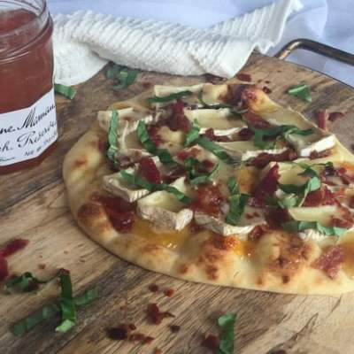 Brie, Bacon, Peach and Basil Flatbread