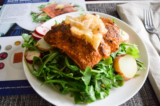 blue apron seared salmon salad side view