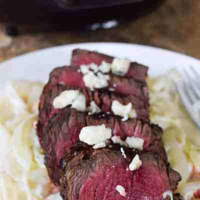 Steak over Blue Cheese Onions