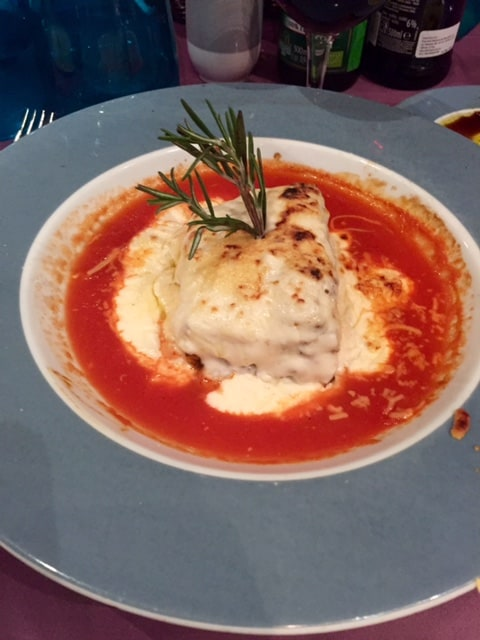 Plate of lasagna close up view